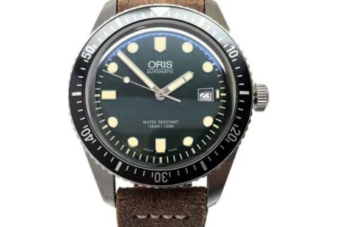 Oris Divers Sixty Five Green Dial Leather Strap Watch