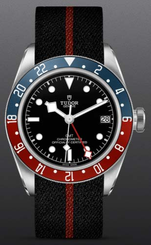NEW Tudor Black Bay GMT on a black hand-woven nylon strap with red stripe