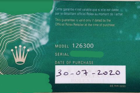 New Rolex Warranty Card 2020 Back